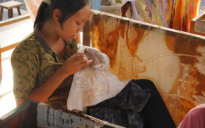 Herstellung von Batik auf Bali