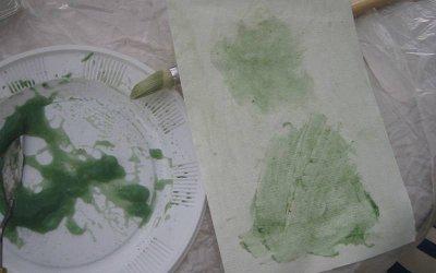 Grüne Farbe aus Stärke